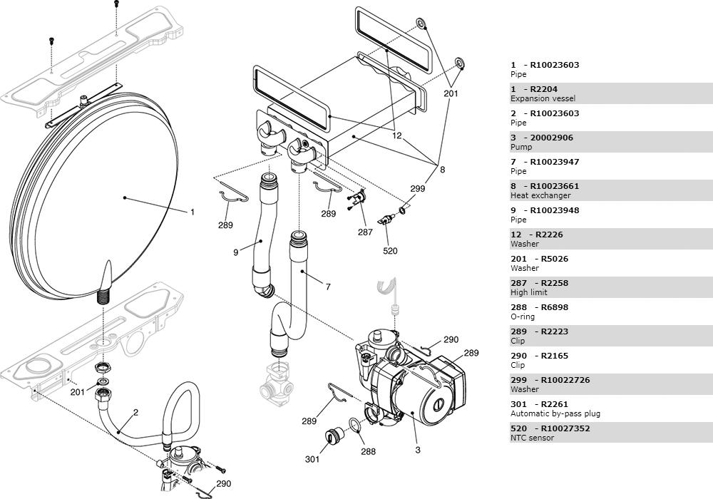Теплообменник-циркуляционный насос-трубки котла Beretta Ciao 28 Csi 2410083