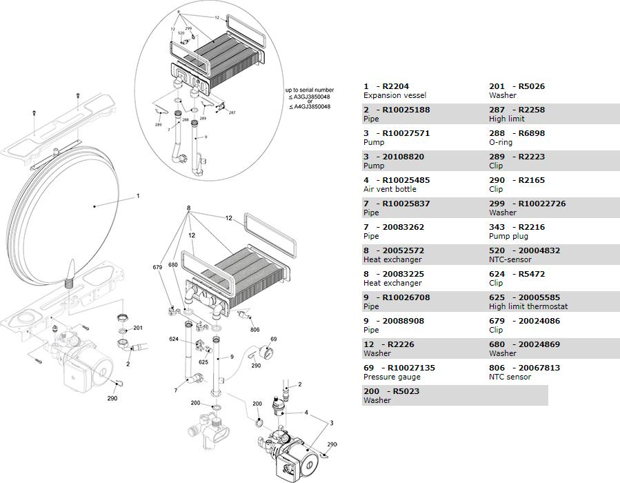 Теплообменник, циркуляционный насос, трубки котла Beretta Exclusive Mix 26 CSI 1150343
