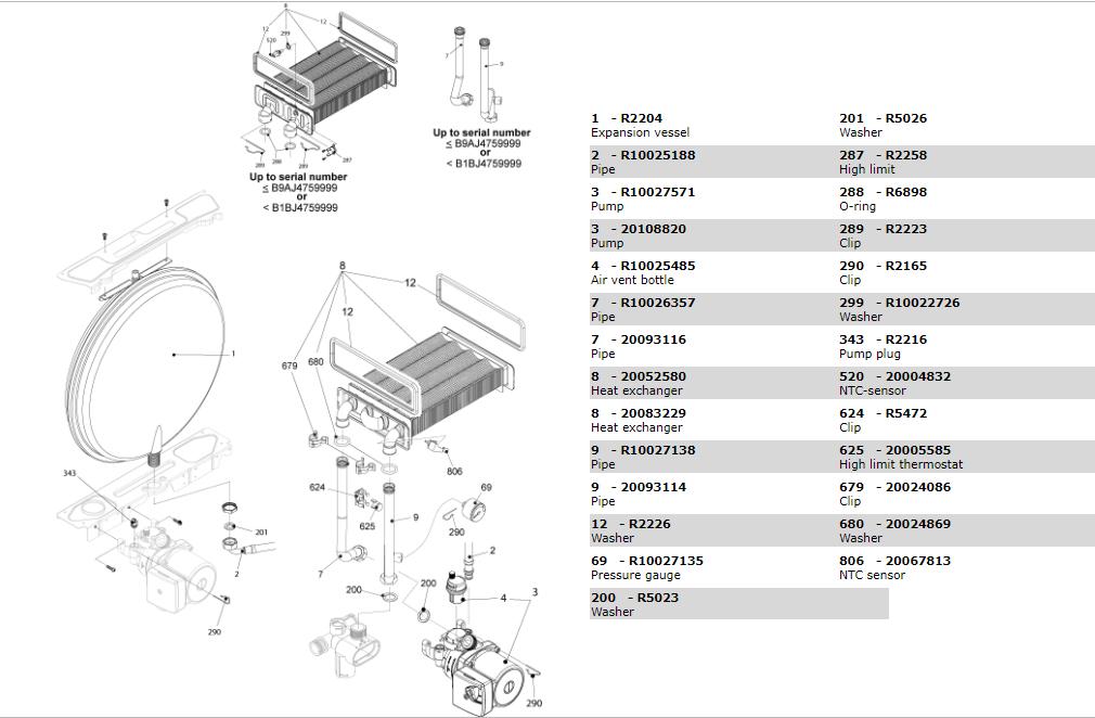 Теплообменник-циркуляционный-насос-трубки-котла-Beretta-Exclusive-Mix-30-СSI-1150673