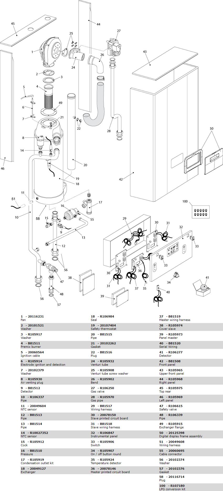 Взрывной чертеж (схема запасных частей) котла Beretta Power Plus 100 M 20076239
