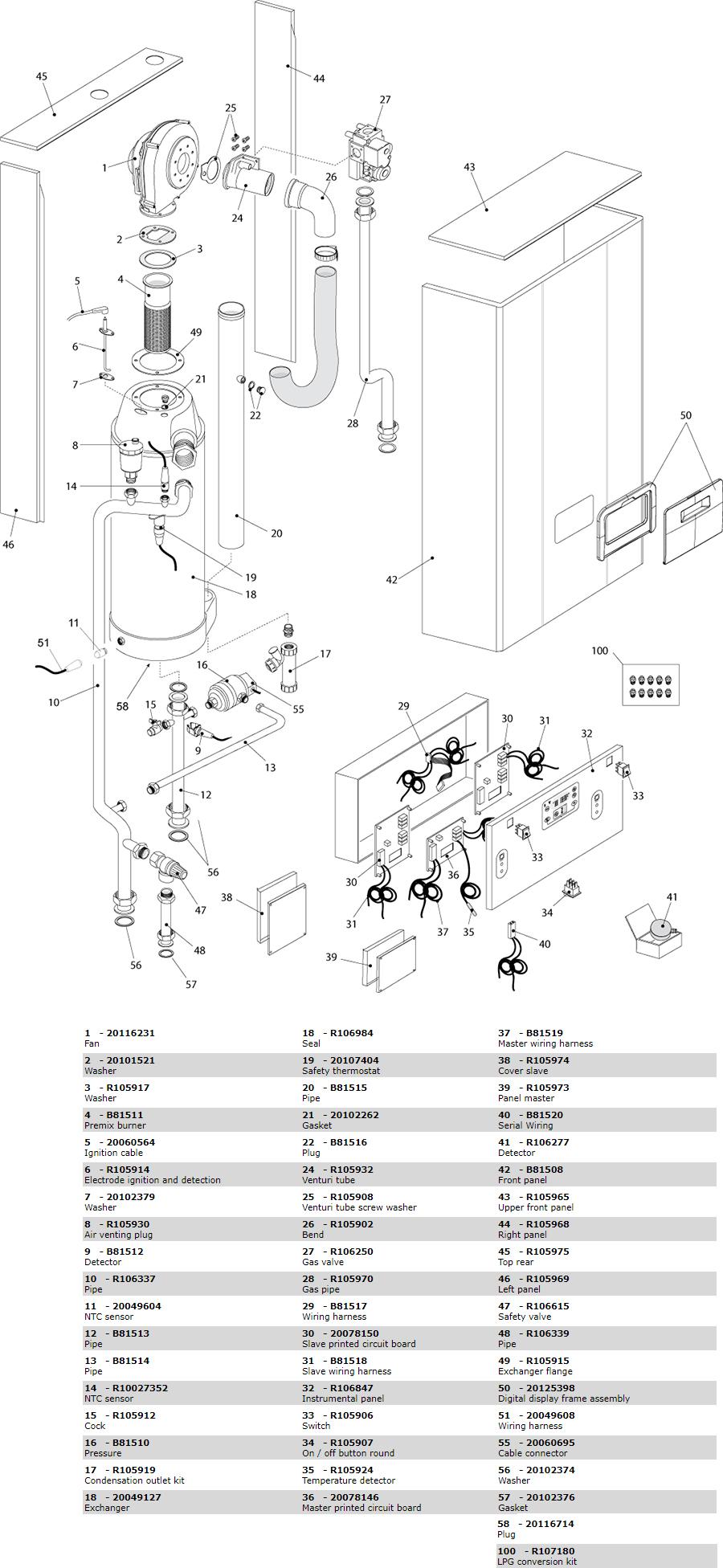 Взрывной чертеж (схема запасных частей) котла Beretta Power Plus 50 M 20076238