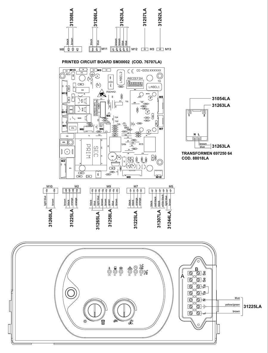 Электрическая схема двухконтурного котла Альфа-Калор АОГВ 24 ЗП 2007 гв