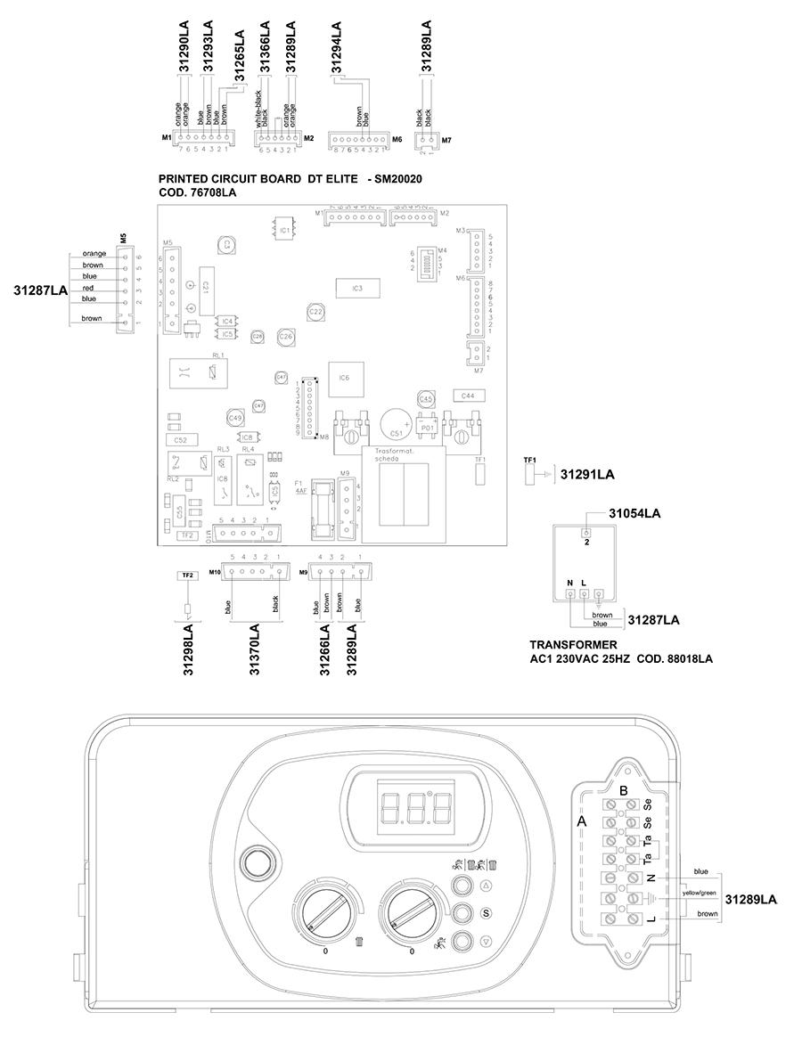 Электрическая схема двухконтурного котла Альфа-Калор АОГВ 32 ЗП 2009 гв