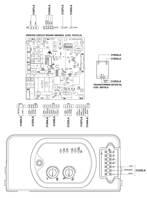 Электрическая схема котла Альфа-Калор АОГВ 24 ОП 2007 гв