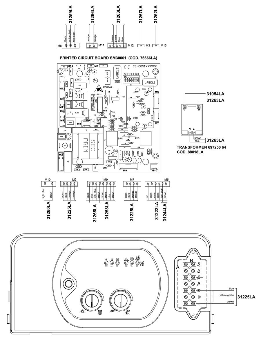 Электрическая схема подключения двухконтурного котла Альфа-Калор АОГВ 24 ЗП 2004 гв
