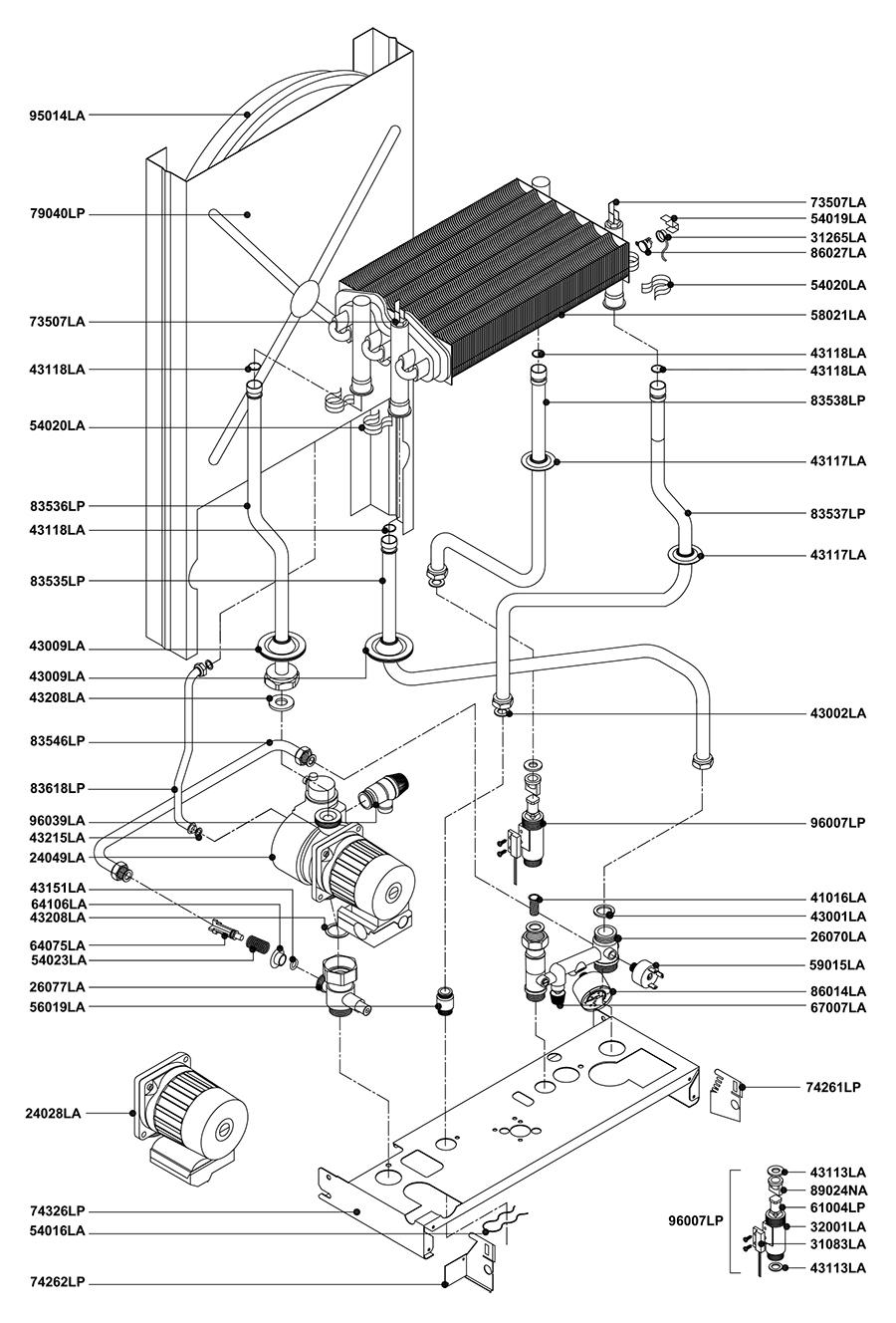 Гидравлическая часть двухконтурного котла Альфа-Калор АОГВ 24 ЗП 2004 гв