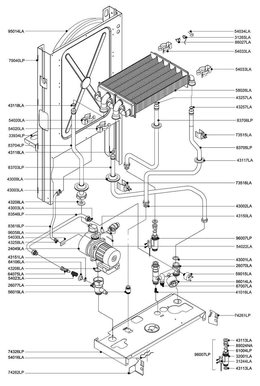 Гидравлическая часть двухконтурного котла Альфа-Калор АОГВ 24 ЗП 2007 гв