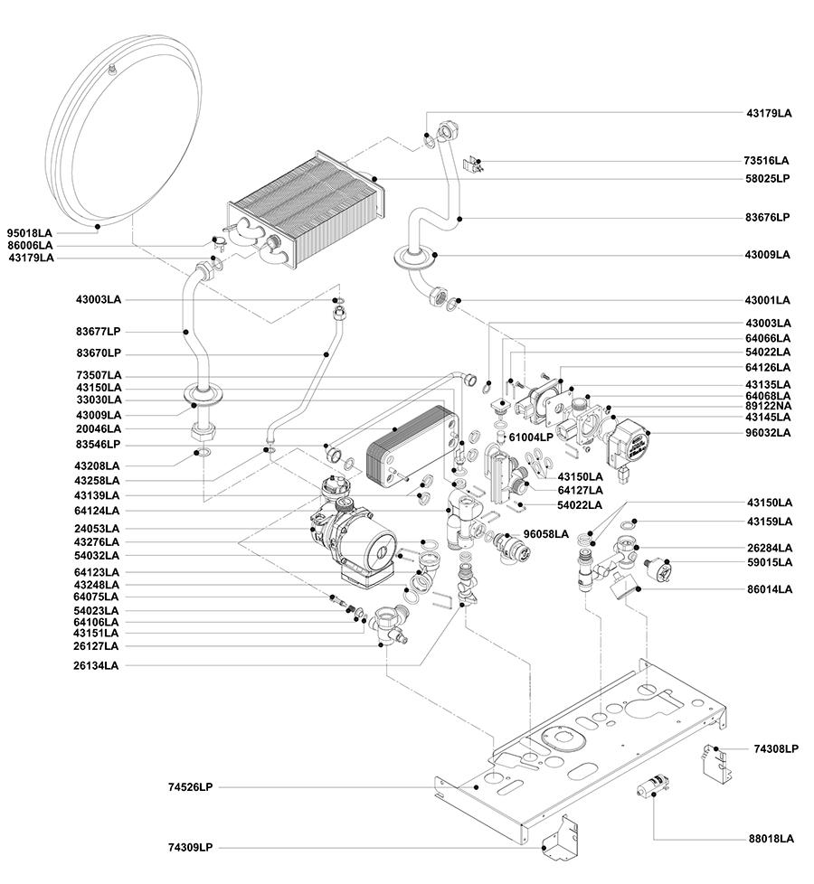 Гидравлическая часть двухконтурного котла Альфа-Калор АОГВ 32 ЗП 2009 гв