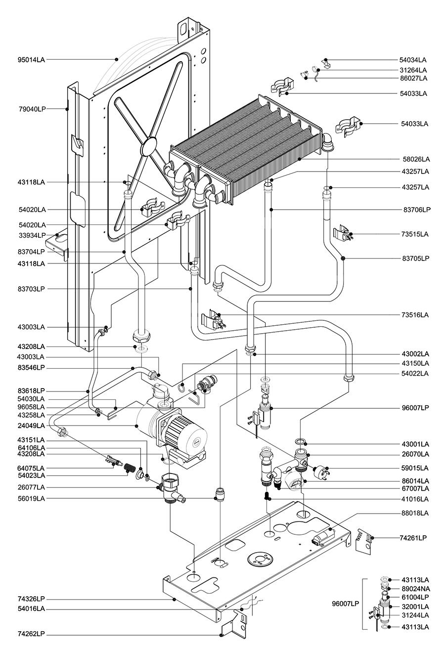 Гидравлическая часть котла Альфа-Калор АОГВ 24 ОП 2007 гв