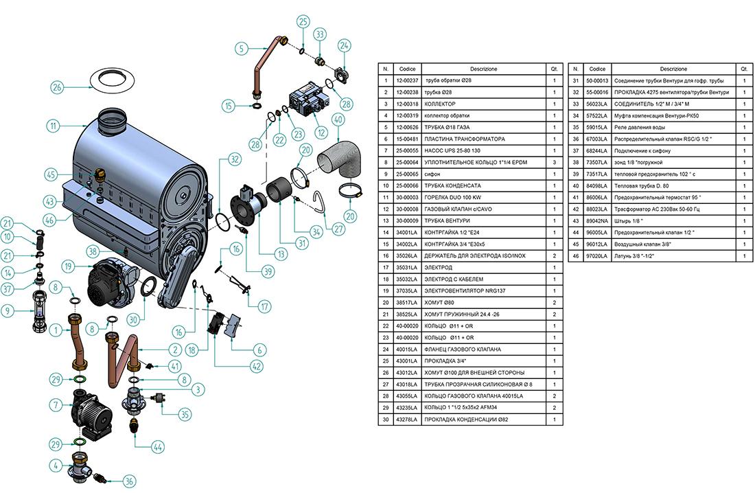 Гидравлическая часть котла Альфа-Калор АОГВ 95 ЗП 2009 года выпуска