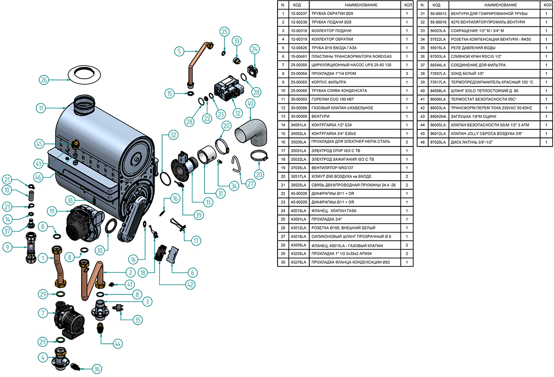 Гидравлическая часть котла Альфа-Калор АОГВ 95 ЗП 2013