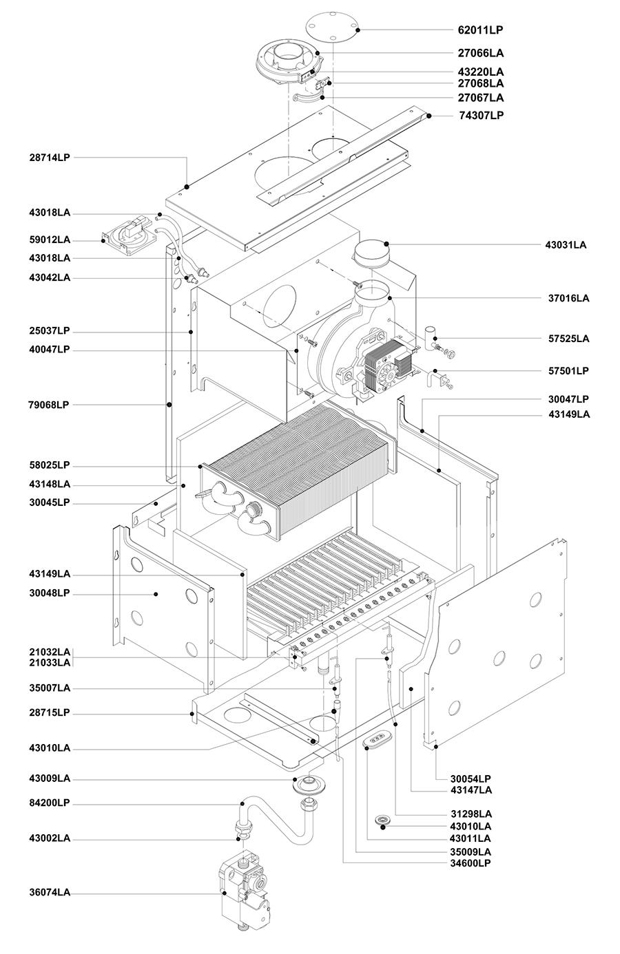 Горелочная часть двухконтурного котла Альфа-Калор АОГВ 32 ЗП 2009 гв