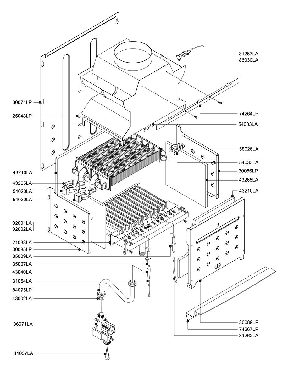 Горелочная часть котла Альфа-Калор АОГВ 24 ОП 2007 гв
