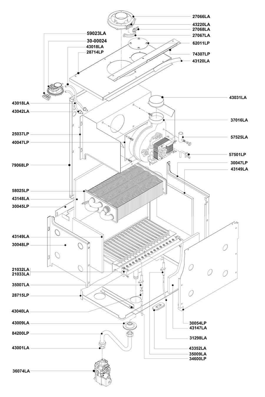 Горелочная часть котла Альфа-Калор АОГВ 32 З 2011 гв