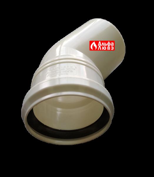 Поворот 45° конденсационный диаметр 80 мм (вид сверху)