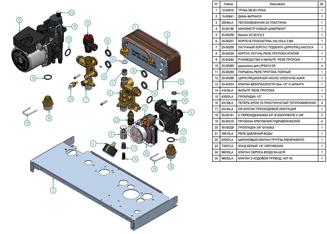 Циркуляционный насос и другие элементы котла Альфа-Калор АОГВ 32 ЗП 2013 гв