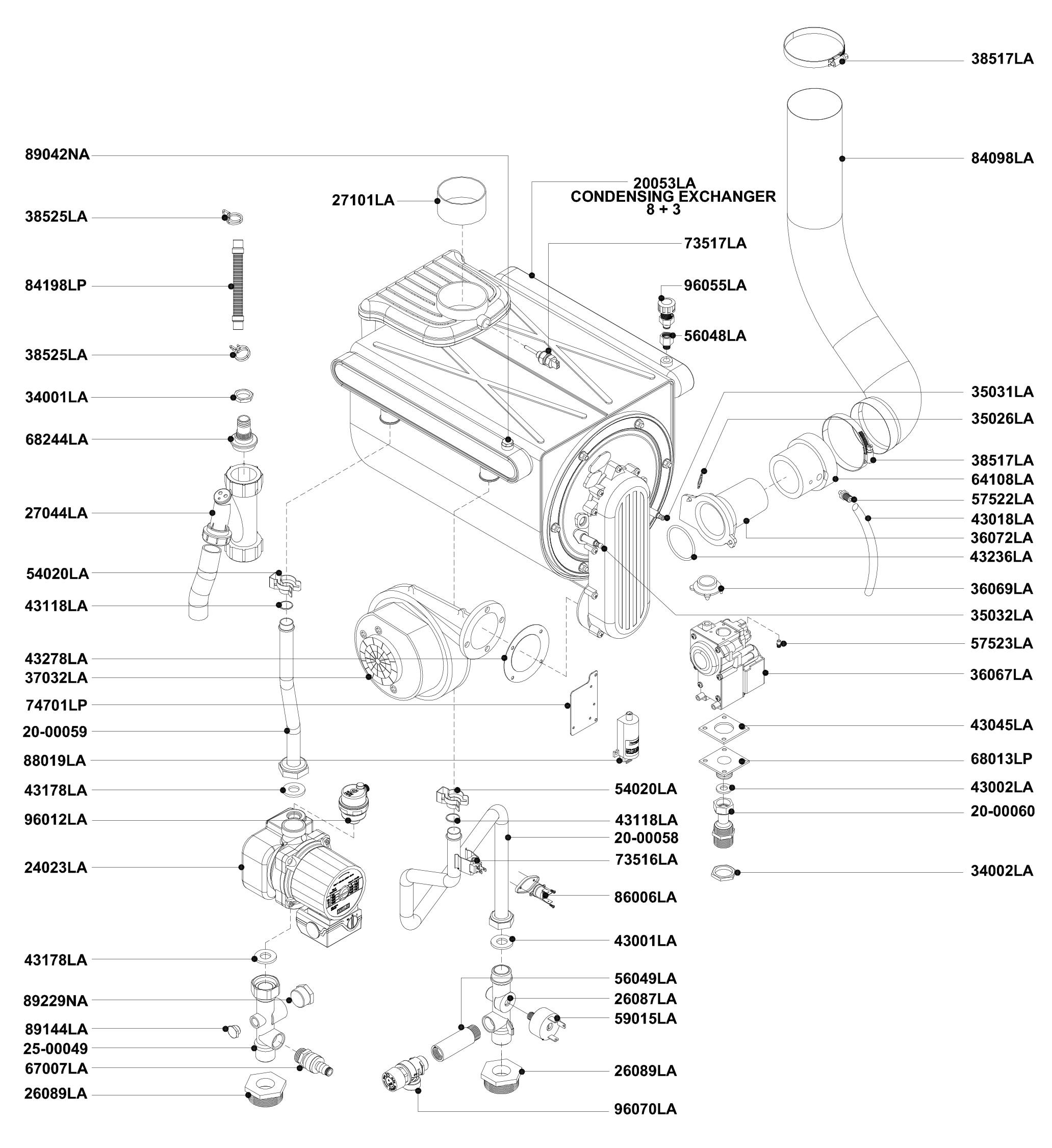 Теплообменник, циркуляционный насос, вентилятор котла АОГВ 50 ЗП 2010