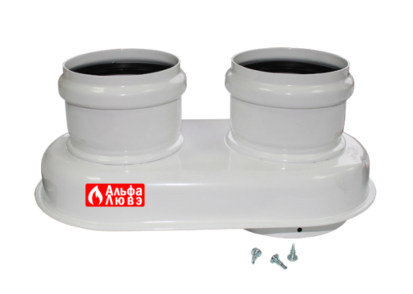 Адаптер раздельного дымоудаления с Ø60-100 на Ø80-80 алюминиевый 10093 с шурупами