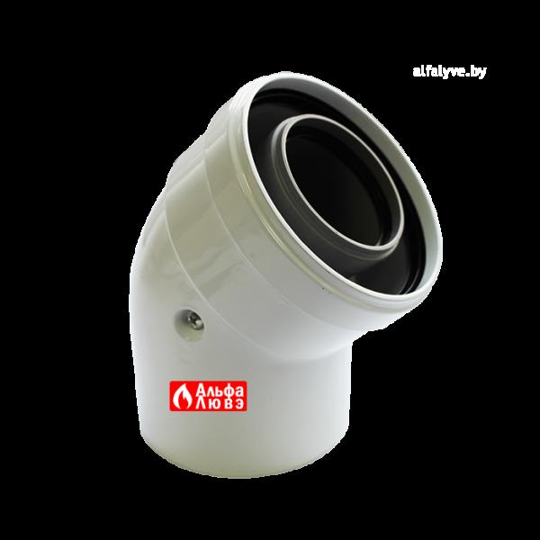 Колено 45° (отвод) коаксиальное PP60-100B45 Пластик — лакированная жесть для конденсационных котлов
