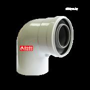 Колено (отвод, поворот) 90° коаксиальное 60-100 пластик — лакированная жесть