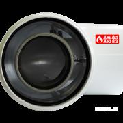 Колено (отвод, поворот) 90° коаксиальное 60-100 пластик — лакированная жесть (вид сверху)