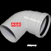 Отвод (колено, поворот) 90° M-F алюминиевый для системы дыпоудаления традиционного котла (вид сбоку)