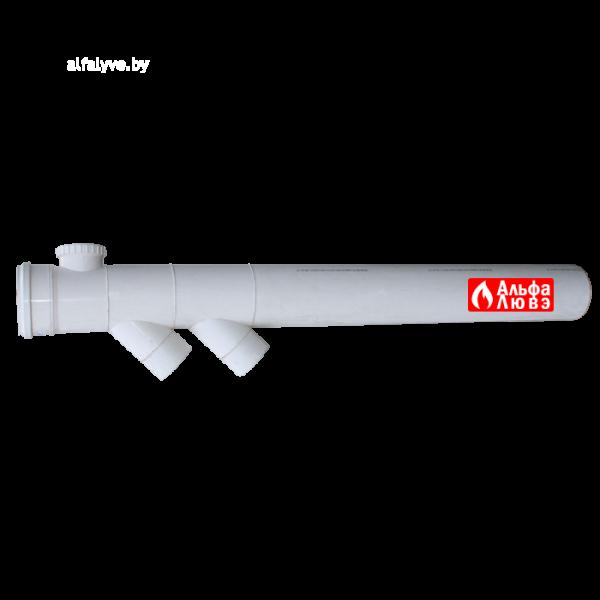 Удлинение каскадное Ø160 с двумя ответвлениями для конденсационного котла