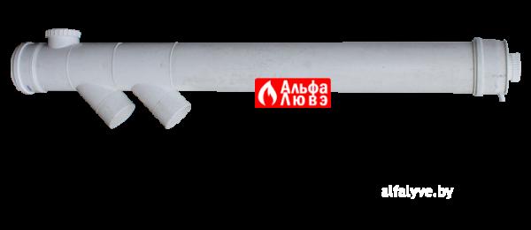 Удлинение каскадное Ø160 с двумя ответвлениями c ревизионной крышкой со стоком