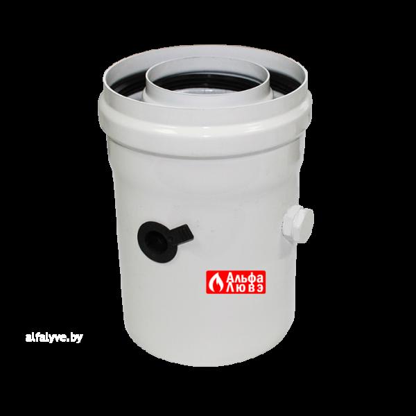 Удлинитель адаптер ALCMS 02 D60-100 коаксиальный 60-100 алюминиевый с отверстиями для замера CO