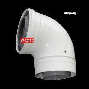 Отвод коаксиальный 90° PP-AL мама-папа Ø80-125 для конденсационного дымоудаления