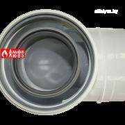 Отвод коаксиальный 90° PP-AL мама-папа Ø80-125 для конденсационного дымоудаления (вид сверху)