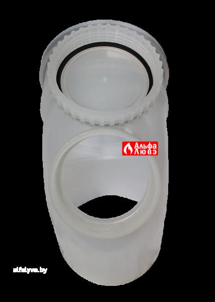 Отвод, колено, поворот 87° DN110 с ревизией PP для конденсационного дымоудаления (открытая крышка ревизии)