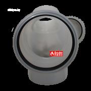 Отвод, колено, поворот 87° DN110 с ревизией PP для конденсационного дымоудаления (вид спереди)