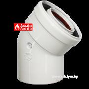 01 Колено, поворот, отвод 45° DN 60-100 алюминий для системы дымоудаления традиционного котла